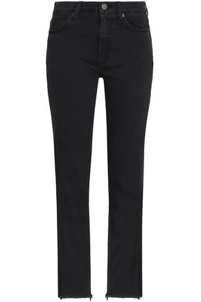 M.I.H JEANS Frayed mid-rise slim-leg jeans