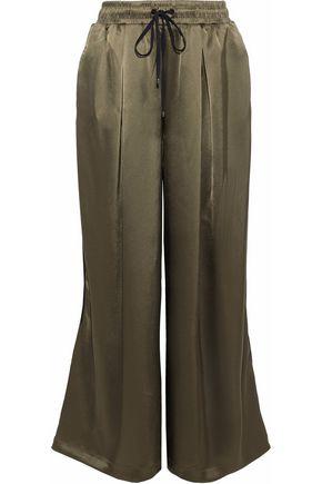KORAL Velvet-trimmed satin wide-leg track pants