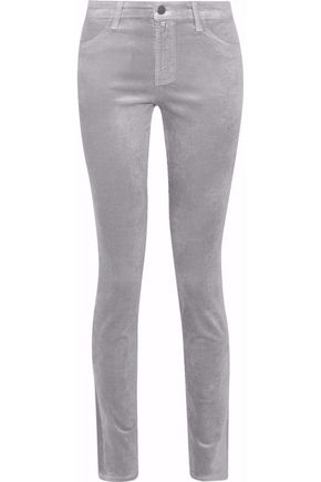 J BRAND 815 metallic cotton-blend velvet skinny pants