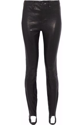 J BRAND Textured-leather stirrup leggings