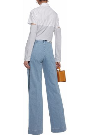 VICTORIA, VICTORIA BECKHAM Striped mid-rise wide-leg jeans