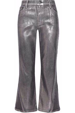 J BRAND Selena cropped coated high-rise straight-leg jeans