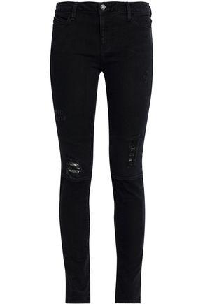 RTA Distressed mid-rise skinny jeans
