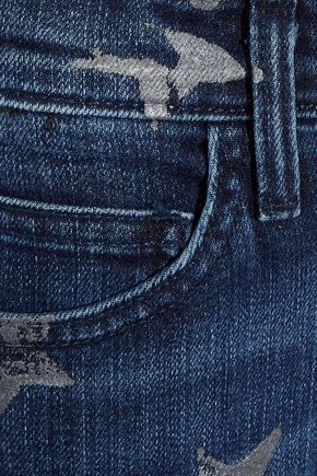 CURRENT/ELLIOTT Cropped printed mid-rise slim-leg jeans