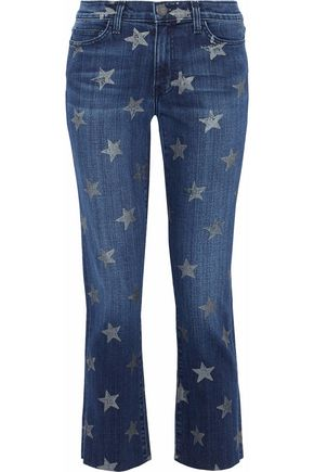 CURRENT/ELLIOTT Cropped printed mid-rise slim-leg jeans