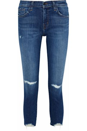 J BRAND Cropped distressed mid-rise skinny jeans