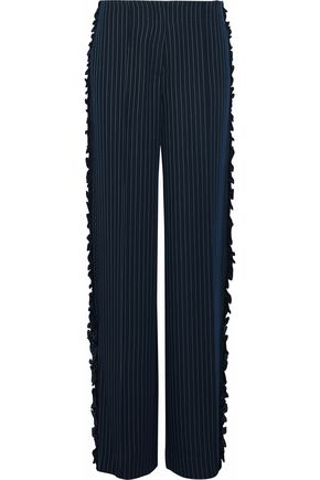 CINQ À SEPT Sedona ruffle-trimmed pinstriped twill wide-leg pants