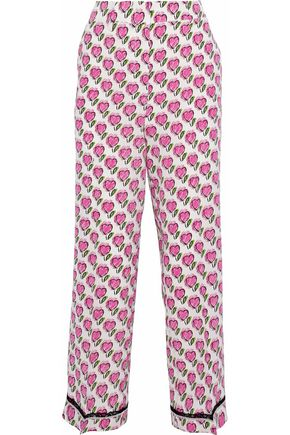 PRADA Cropped printed silk crepe de chine straight-leg pants