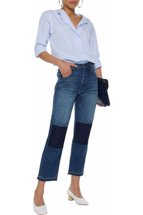J BRAND Cropped patchwork mid-rise straight-leg jeans