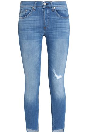 RAG & BONE/JEAN Cropped distressed mid-rise skinny jeans