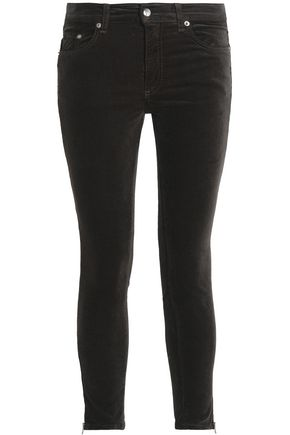 RAG & BONE Cropped cotton-blend velvet skinny pants