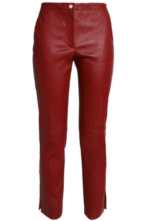 HELMUT LANG Cropped leather slim-leg pants