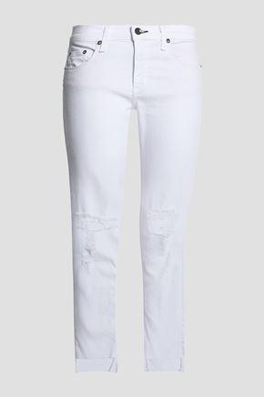 RAG & BONE/JEAN Cropped distressed mid-rise slim-leg jeans
