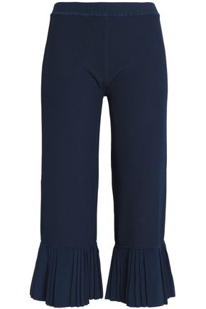 3.1 PHILLIP LIM Pleated ribbed stretch-knit flared pants