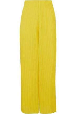 SOLACE LONDON Celie printed plissé gauze wide-leg pants