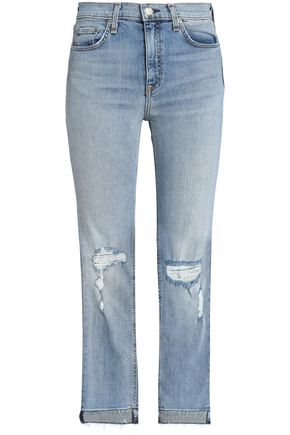 RAG & BONE/JEAN Distressed mid-rise slim-leg jeans