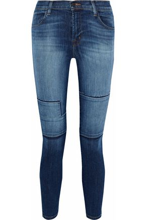 J BRAND Alana distressed patchwork high-rise skinny jeans