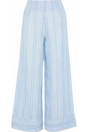 SOLID & STRIPED Embroidered striped cotton-voile wide-leg pants
