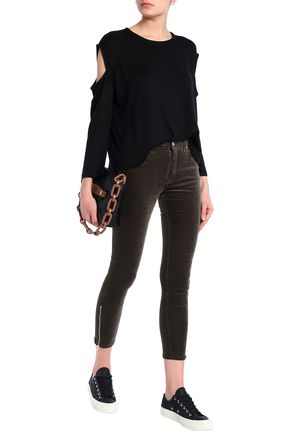 RAG & BONE Cropped velvet skinny pants