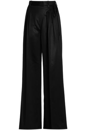 T by ALEXANDER WANG Crepe-satin wide-leg pants