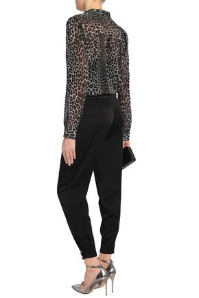 ROBERTO CAVALLI Cropped belted crepe-satin tapered pants