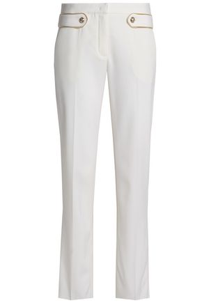 ROBERTO CAVALLI Button-detailed wool-blend slim-leg pants