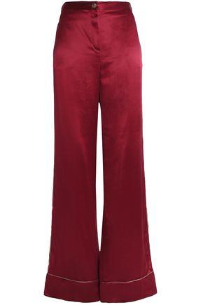 ROBERTO CAVALLI Lamé-trimmed silk-satin wide-leg pants