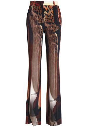 ROBERTO CAVALLI Printed crepe bootcut pants