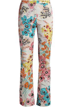 JUST CAVALLI Floral-print cotton-blend twill bootcut pants