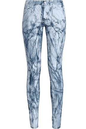 MOTHER Printed mid-rise skinny jeans