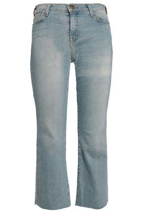 CURRENT/ELLIOTT Cropped faded high-rise slim-leg jeans