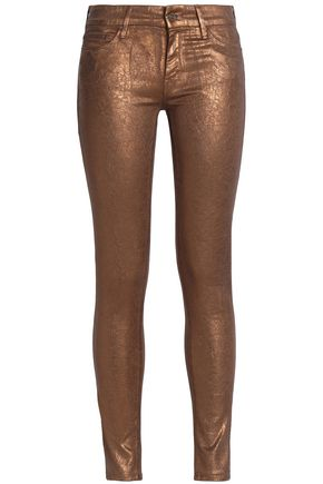 MOTHER Metallic mid-rise skinny jeans