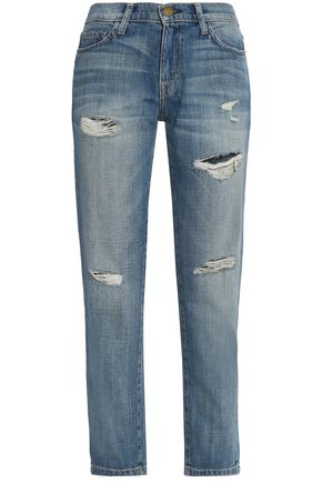 CURRENT/ELLIOTT Distressed high-rise straight-leg jeans