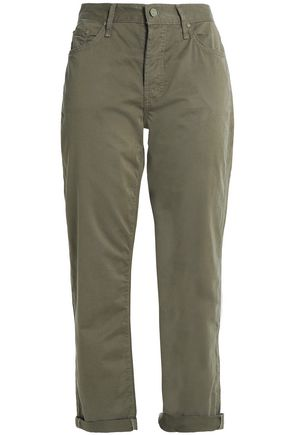 MOTHER Cotton-blend gabardine straight-leg pants