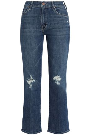 MOTHER Distressed mid-rise kick flare jeans