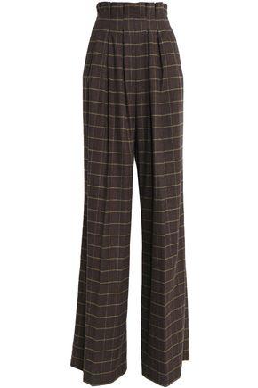 STELLA JEAN Checked wool-blend wide-leg pants
