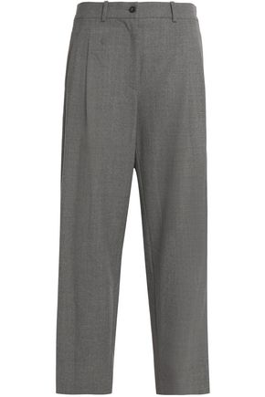 STELLA JEAN Velvet-trimmed wool-blend straight-leg pants