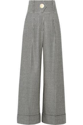 PETAR PETROV Houndstooth wool-blend wide-leg pants