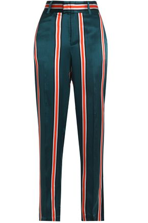 EQUIPMENT Striped washed-silk straight-leg pants