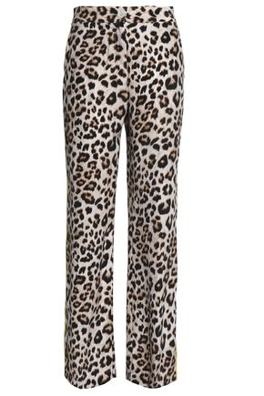 EQUIPMENT Leopard-print washed-silk straight-leg pants