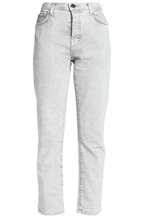 CURRENT/ELLIOTT Cropped bleached high-rise slim-leg jeans