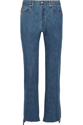 VETEMENTS Distressed high-rise straight-leg jeans