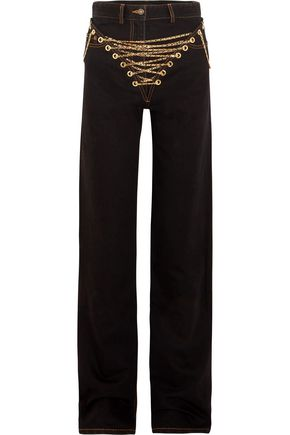 Y/PROJECT Chain-embellished high-rise straight-leg jeans