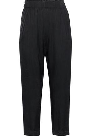 ENZA COSTA Cropped satin straight-leg pants