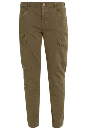 J BRAND Zip-detailed cotton-blend slim-leg pants