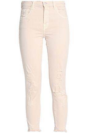 J BRAND Cropped distressed mid-rise slim-leg jeans