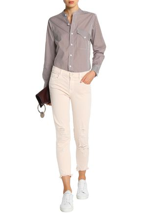 J BRAND Cropped distressed mid-rise slim-leg jeans