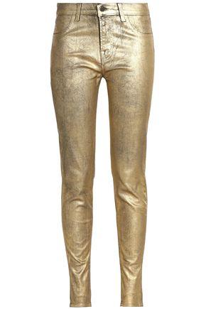 J BRAND 801 metallic-coated mid-rise skinny jeans