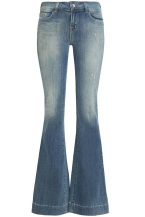 J BRAND Distressed low-rise flared jeans
