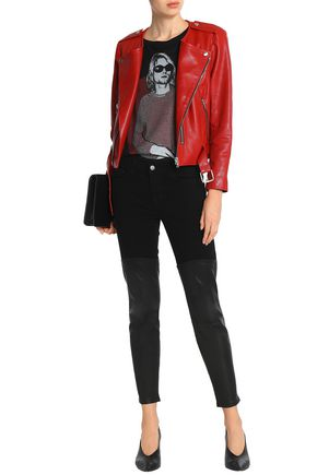 J BRAND Leather-paneled low-rise slim-leg jeans